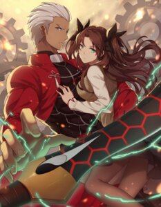 Rating: Safe Score: 38 Tags: archer fate/stay_night ng_(chaoschyan) pantyhose seifuku sword toosaka_rin User: mash