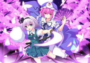 Rating: Safe Score: 17 Tags: cross dress konpaku_youmu saigyouji_yuyuko sword touhou User: 椎名深夏