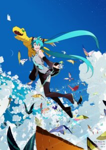 Rating: Safe Score: 9 Tags: crossover digimon_adventure hatsune_miku headphones skirt_lift tattoo thighhighs uki_atsuya vocaloid User: saemonnokami