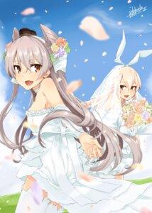 Rating: Safe Score: 7 Tags: alakoala_shoushou amatsukaze_(kancolle) dress kantai_collection shimakaze_(kancolle) thighhighs wedding_dress User: Mr_GT