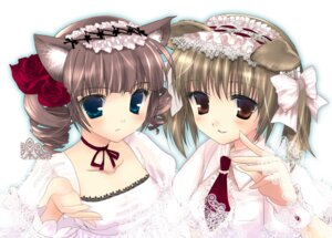 Rating: Safe Score: 25 Tags: animal_ears chimaro fukuzawa_yumi inumimi lolita_fashion maria-sama_ga_miteru matsudaira_touko nekomimi User: petopeto
