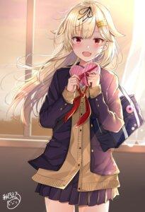 Rating: Safe Score: 35 Tags: kantai_collection noeru_(gt17854) seifuku sweater valentine yuudachi_(kancolle) User: Mr_GT
