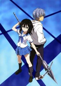 Rating: Safe Score: 22 Tags: akatsuki_kojou himeragi_yukina seifuku strike_the_blood tagme weapon User: drop