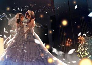 Rating: Safe Score: 41 Tags: dress love_live! shironboako toujou_nozomi wedding_dress yazawa_nico yuri User: charunetra