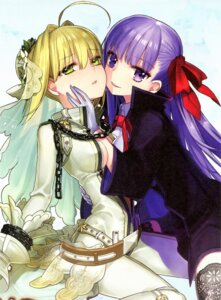 Rating: Safe Score: 56 Tags: bb_(fate/extra_ccc) fate/extra fate/extra_ccc fate/stay_night paper_texture saber_extra type-moon wada_rco yuri User: Radioactive