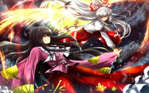Rating: Safe Score: 10 Tags: fujiwara_no_mokou houraisan_kaguya nekominase touhou wallpaper User: Konngara