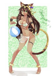 Rating: Questionable Score: 59 Tags: animal_ears autographed bastet bikini cleavage feet khibiki_(brequiem) puzzle_&_dragons see_through swimsuits tail User: KazukiNanako
