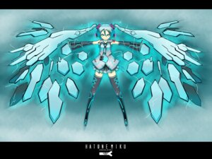 Rating: Safe Score: 11 Tags: hatsune_miku kawazu thighhighs vocaloid wallpaper User: charunetra