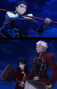 Rating: Safe Score: 32 Tags: archer fate/stay_night fate/stay_night_unlimited_blade_works lancer steelleets toosaka_rin weapon User: fairyren