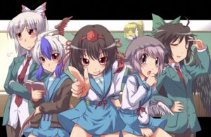 Rating: Safe Score: 16 Tags: animal_ears cosplay fujiwara_no_mokou mystia_lorelei parody reiuji_utsuho seifuku shameimaru_aya suzumiya_haruhi_no_yuuutsu touhou yoshi_tama User: Radioactive