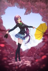 Rating: Safe Score: 65 Tags: love_live! maredoro seifuku thighhighs toujou_nozomi umbrella User: Mr_GT