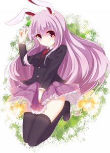 Rating: Safe Score: 51 Tags: animal_ears bunny_ears darktrident reisen_udongein_inaba seifuku thighhighs touhou User: Mr_GT