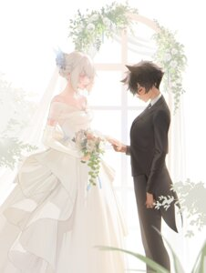Rating: Safe Score: 29 Tags: animal_ears cleavage crossdress dress nekomimi no_bra ohisashiburi see_through wedding_dress yuri User: Spidey