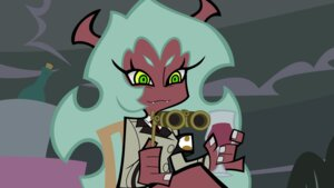 Rating: Safe Score: 5 Tags: business_suit devil horns panty_&_stocking_with_garterbelt scanty vector_trace User: garbage
