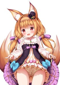 Rating: Questionable Score: 28 Tags: animal_ears cameltoe flower_knight_girl kitsune mochiyuki pantsu skirt_lift tail User: sym455