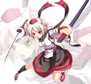 Rating: Safe Score: 18 Tags: animal_ears cyoppu inubashiri_momiji sword touhou User: Radioactive
