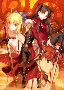 Rating: Safe Score: 20 Tags: archer cleavage dress emiya_shirou fate/stay_night fate/stay_night_unlimited_blade_works saber sword takeuchi_takashi thighhighs toosaka_rin type-moon User: megumiok