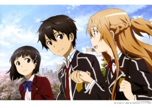 Rating: Safe Score: 35 Tags: asuna_(sword_art_online) kirigaya_suguha kirito sasaki_keigo seifuku sword_art_online User: drop