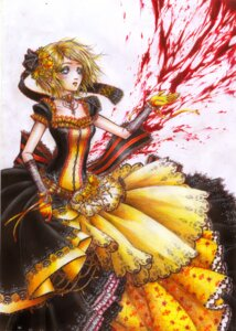 Rating: Safe Score: 13 Tags: aku_no_meshitsukai_(vocaloid) blood dress hisekai kagamine_rin lolita_fashion vocaloid User: Radioactive