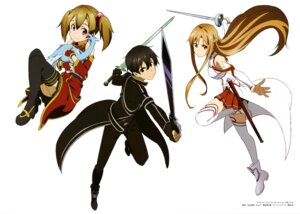 Rating: Safe Score: 30 Tags: adachi_shingo armor asuna_(sword_art_online) heels kirito pina silica sword sword_art_online thighhighs User: drop