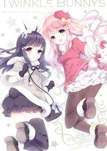 Rating: Questionable Score: 25 Tags: animal_ears ass bloomers bunny_ears pantyhose tail thighhighs w.label wasabi_(artist) User: Radioactive