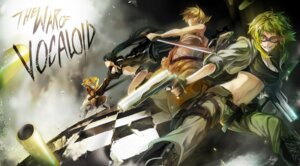 Rating: Safe Score: 21 Tags: black_rock_shooter black_rock_shooter_(character) bokura_no_16bit_warz_(vocaloid) gumi gun kagamine_len kagamine_rin meltdown_(vocaloid) rahwia vocaloid User: fireattack
