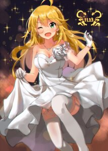 Rating: Safe Score: 65 Tags: cleavage dress hoshii_miki kurokin skirt_lift stockings the_idolm@ster thighhighs wedding_dress User: Mr_GT