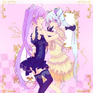 Rating: Safe Score: 20 Tags: hatsune_miku lolita_fashion megurine_luka thighhighs toraman vocaloid yuri User: Radioactive