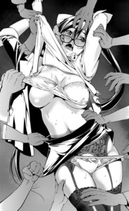 Rating: Questionable Score: 21 Tags: bra breasts cleavage gangbang garter_belt megane monochrome pantsu panty_pull shigaoka_touki stockings thighhighs torn_clothes underboob User: mash