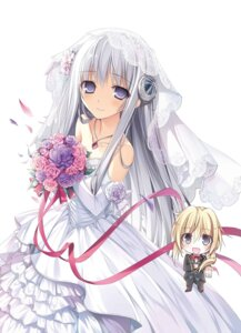 Rating: Safe Score: 86 Tags: chibi dress dress_na_boku_ga_yangoto_naki_katagata_no_kateikyoushi_sama_na_ken karory seira_shiruwien wedding_dress User: no2body