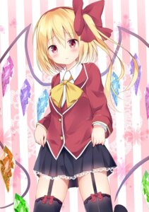Rating: Safe Score: 36 Tags: flandre_scarlet hyurasan skirt_lift stockings thighhighs touhou wings User: Deadhunt