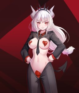 Rating: Questionable Score: 20 Tags: breasts business_suit helltaker horns lucifer_(helltaker) m_chant maebari no_bra nopan pasties tagme tail User: Dreista