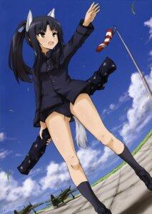 Rating: Questionable Score: 17 Tags: animal_ears hattori_shizuka inumimi school_swimsuit seifuku strike_witches swimsuits sword tail User: Iketani_RC