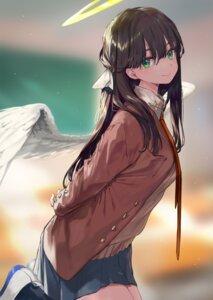 Rating: Safe Score: 40 Tags: amana_(pocketkey) angel sakurajima_mai seifuku seishun_buta_yarou_series sweater wings User: Mr_GT