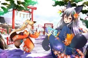 Rating: Safe Score: 23 Tags: animal_ears ezo_red_fox kemono_friends kimono kitsune lob-ster silver_fox tail User: Mr_GT