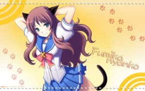 Rating: Safe Score: 20 Tags: animal_ears giga hinata_terrace nekomimi petanko_side seifuku tail wallpaper User: maurospider