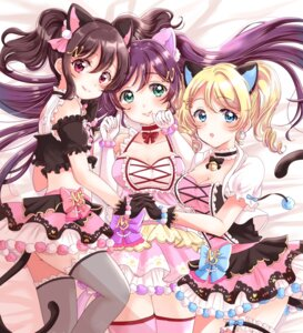 Rating: Safe Score: 19 Tags: animal_ears ayase_eli cleavage eneco garter lolita_fashion love_live! nekomimi tail thighhighs toujou_nozomi yazawa_nico User: Mr_GT