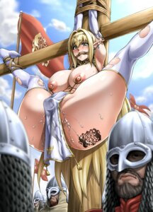 Rating: Explicit Score: 95 Tags: animal_ears armor bondage breasts dildo elf neroma_shin nipples no_bra nopan pointy_ears pussy_juice tattoo thighhighs torn_clothes User: Mr_GT