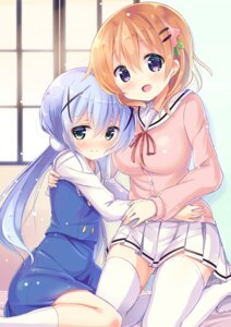Rating: Safe Score: 57 Tags: gochuumon_wa_usagi_desu_ka? hoto_cocoa kafuu_chino kurou_(quadruple_zero) seifuku sweater thighhighs User: Mr_GT