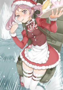 Rating: Safe Score: 32 Tags: christmas kantai_collection sai_(artist) sazanami_(kancolle) thighhighs waitress User: Mr_GT