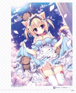 Rating: Questionable Score: 63 Tags: animal_ears cleavage dress neko nekomimi nopan shiromochi_sakura skirt_lift stockings tail thighhighs User: Twinsenzw