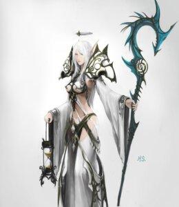 Rating: Safe Score: 28 Tags: armor bikini_armor elf pointy_ears underboob weapon User: Rignak