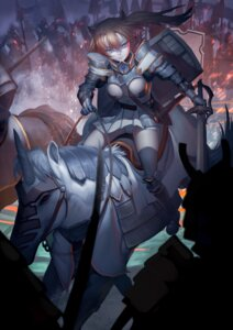 Rating: Questionable Score: 18 Tags: armor baliu cameltoe pantsu sword thighhighs User: sylver650