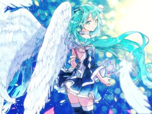 Rating: Safe Score: 30 Tags: hatsune_miku pomu skirt_lift thighhighs vocaloid wings User: charunetra