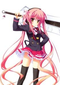 Rating: Safe Score: 61 Tags: amakawa_amane amakawa_amane_no_hitei_koushiki hontani_kanae seifuku sword thighhighs User: crim