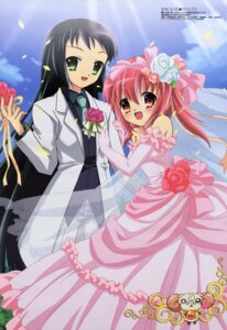 Rating: Safe Score: 16 Tags: akihime_sumomo crossdress dress ibe_yukiko nanatsuiro_drops wedding_dress yaeno_nadeshiko yuki-chan yuri User: Radioactive