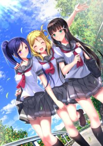 Rating: Safe Score: 37 Tags: kurosawa_dia love_live!_sunshine!! matsuura_kanan ohara_mari seifuku swordsouls User: Mr_GT
