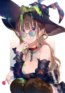 Rating: Questionable Score: 22 Tags: breast_hold breasts cream megane miwano_ragu no_bra thighhighs witch User: Mr_GT