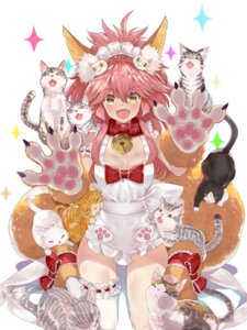 Rating: Questionable Score: 25 Tags: animal_ears fate/extra fate/grand_order fate/stay_night garter kitsune naked_apron neko tail tamamo_cat thighhighs tokopi User: Mr_GT