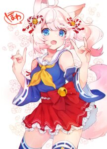 Rating: Safe Score: 24 Tags: animal_ears howan kitsune seifuku shichijou_natori show_by_rock!! show_by_rock!!_mashumairesh!! skirt_lift tail thighhighs User: animeprincess
